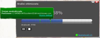 Barra di progressione scansione - Panda Cloud Antivirus Pro