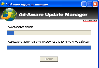Ad-Aware Free Internet Security: Aggiornamento database virali