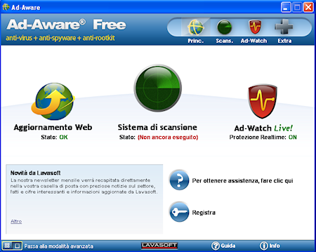Ad-Aware Free Internet Security: Finestra principale in modalità semplice