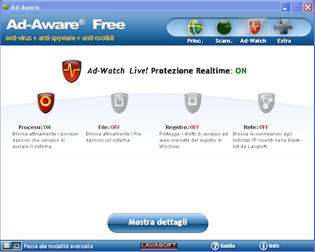 Ad-Aware Free Internet Security: Sezione Ad-Watch Live!