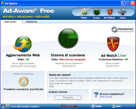 Ad-Aware Free Internet Security: Finestra principale in modalità avanzata
