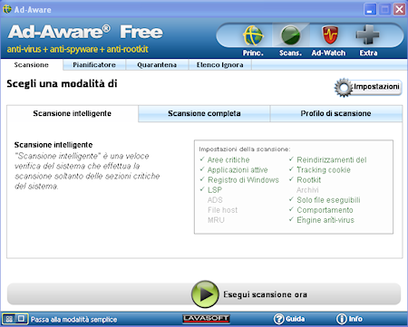 Ad-Aware Free Internet Security: Finestra di scansione avanzata