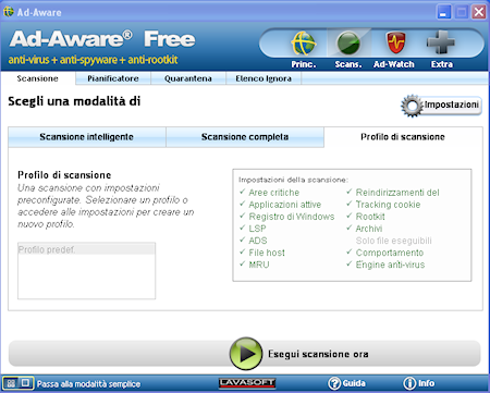 Ad-Aware Free Internet Security: Impostazione di profili di scansione