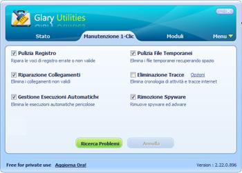 Glary Utilities: Interfaccia utente