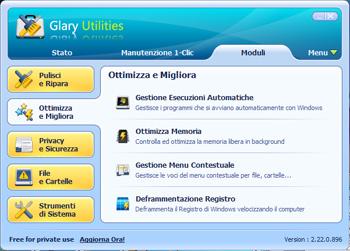 Glary Utilities: Sezione di ottimizzazione