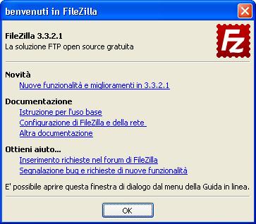 Primo avvio di FileZilla Client