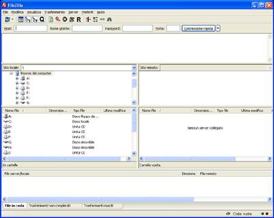 Interfaccia utente FileZilla Client