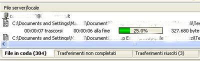 Filezilla: Fase di trasferimento file