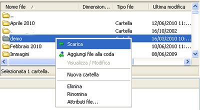 Filezilla: Ricezione di un file o di una cartella