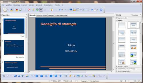 Interfaccia utente Impress - OOo4Kids