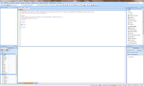 Interfaccia utente Microsoft SharePoint Designer 2007