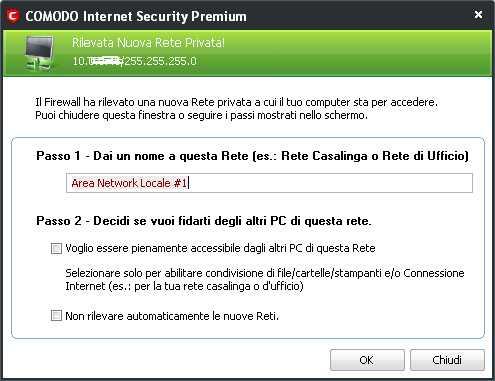 Rilevazione rete dati locale al primo avvio - Comodo Internet Security