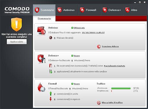Interfaccia utente - Comodo Internet Security