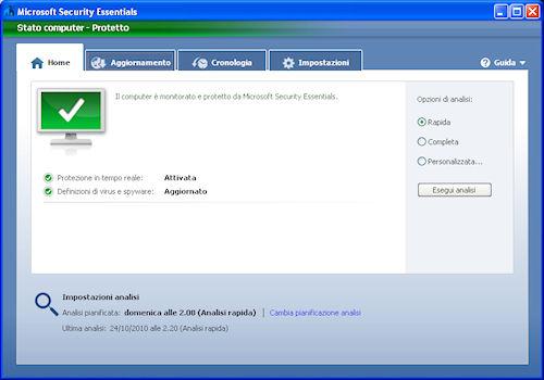 Interfaccia utente - Microsoft Security Essentials