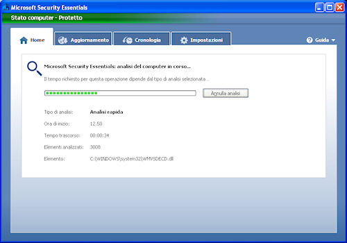 Finestra di analisi del computer - Microsoft Security Essentials