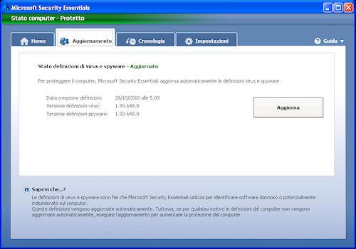 Scheda di gestione aggiornamenti - Microsoft Security Essentials