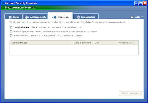 Scheda di gestione cronologia - Microsoft Security Essentials