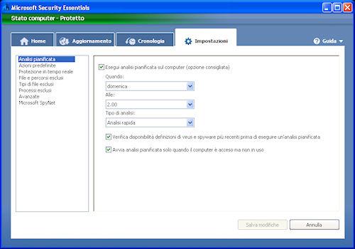 Scheda di gestione impostazioni - Microsoft Security Essentials