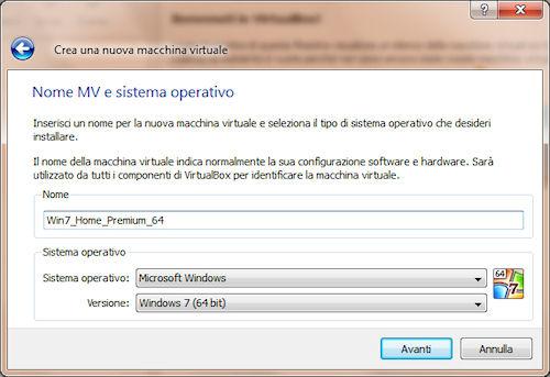 Scelta nome macchina virtuale, tipo e versione sistema operativo