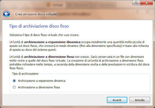 Tipo di archiviazione disco fisso virtuale