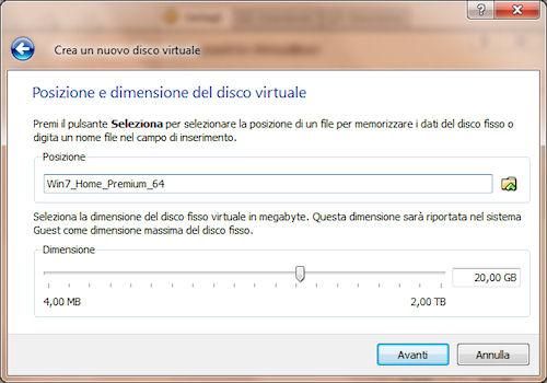Posizione e dimensione disco fisso virtuale