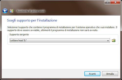 Selezione supporto di installazione sistema operativo