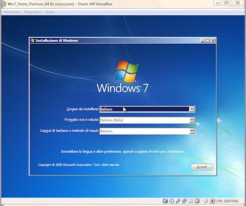 Installazione sistema operativo virtuale