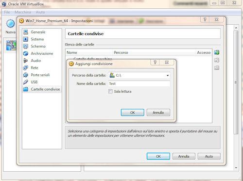 Condivisione cartella tra sistema virtuale e principale