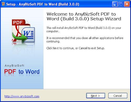 Installazione AnyBizSoft PDF to Word Converter