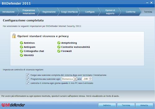 BitDefender Internet Security 2011: Finestra finale del processo di configurazione guidata