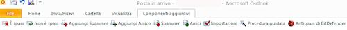 BitDefender Internet Security 2011: Componente aggiuntivo dedicato a Microsoft Outlook