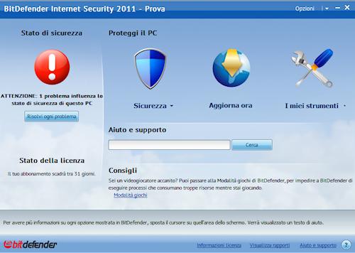 BitDefender Internet Security 2011: Interfaccia utente base