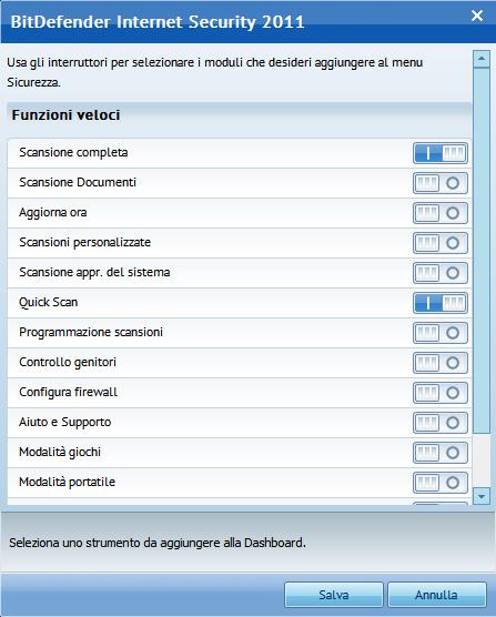 Interruttori di selezione dei moduli da aggiungere ai menu principali