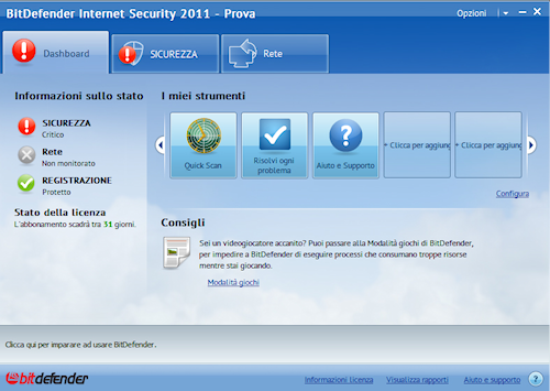 BitDefender Internet Security 2011: Interfaccia utente intermedia