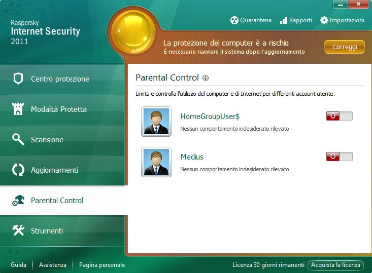 Kasperskiy Internet Security 2011 - модуль родительского контроля.