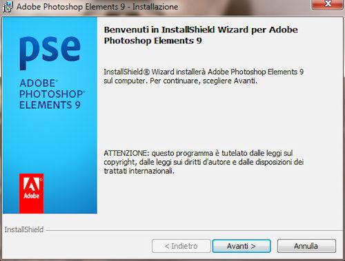Installazione di Adobe Photoshop Elements 9
