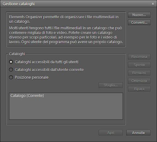 Funzione di gestione cataloghi