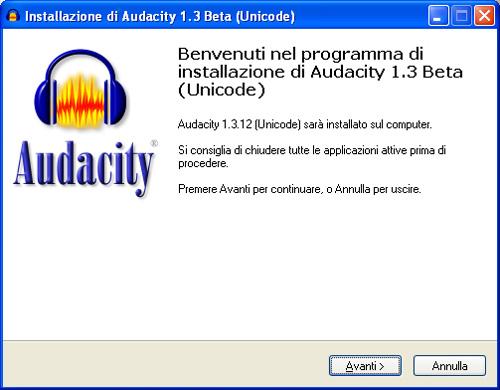 Installazione Audacity