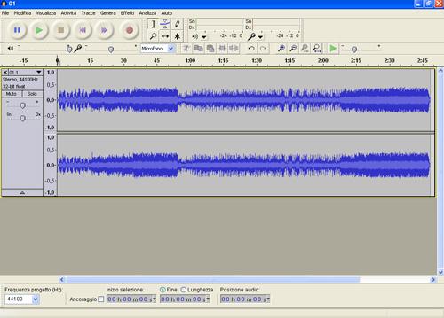 Esempio di rappresentazione grafica di un file audio