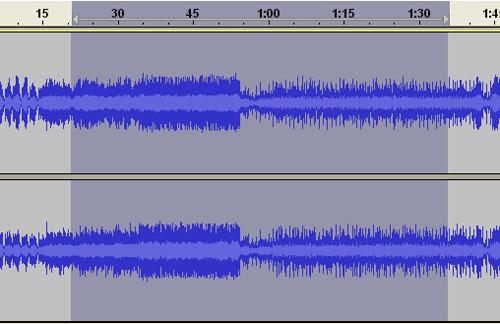 Esempio di selezione di un blocco di tracce audio
