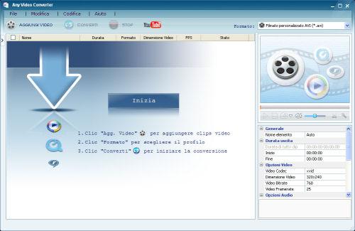 Interfaccia grafica Any Video Converter