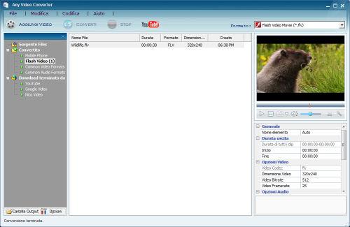 Esempio di riproduzione con il player integrato di un file convertito