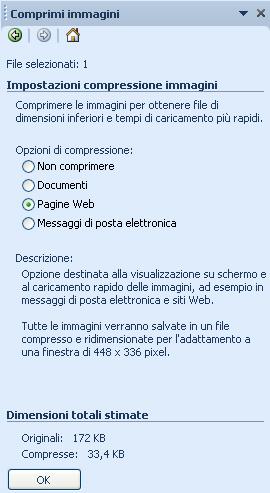 Microsoft Office Picture Manager: Riquadro compressione immagini