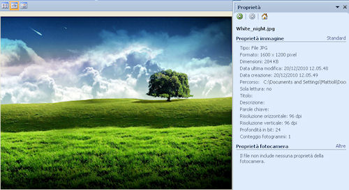 Microsoft Office Picture Manager: Esempio di riquadro proprietà immagine