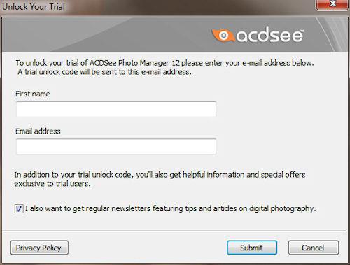 ACDSee Photo Manager: Finestra registrazione prodotto
