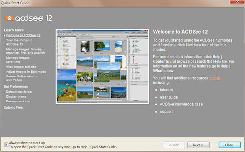 ACDSee Photo Manager: Finestra di benvenuto