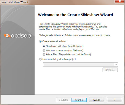 ACDSee Photo Manager: Procedura guidata creazione slideshow