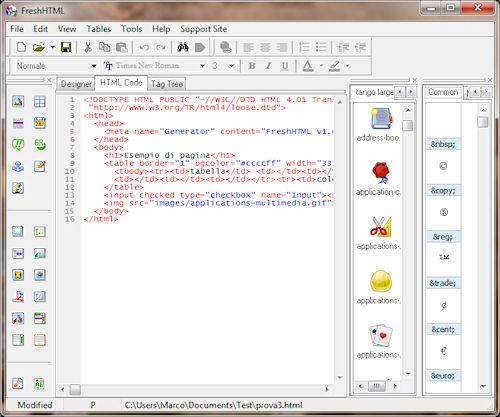 Fresh HTML: Esempio di codice HTML