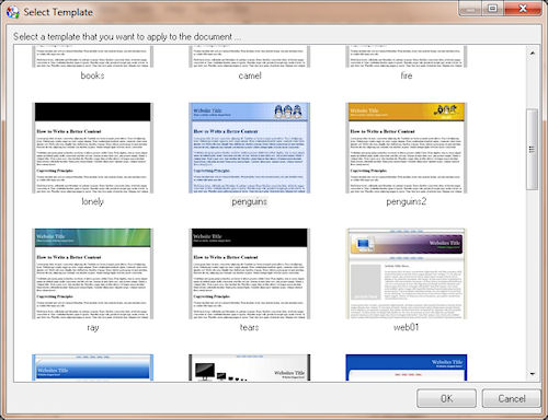 Fresh HTML: Finestra selezione modelli
