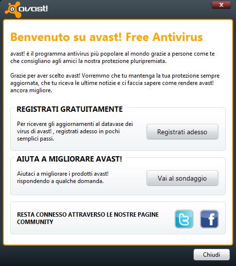 Avast! 6 Free Antivirus: Finestra di benvenuto